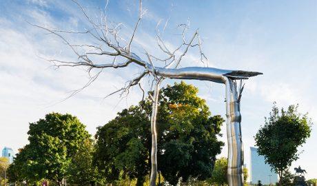 Simbioza, skulptura, umetnost, Roxy Paine, Benjamin Franklin park, USA, kockice života, kockice zivota